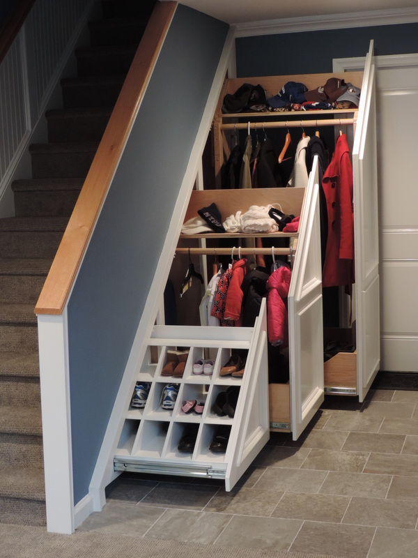 Under stairs storage genuine woodworking llc for Diy staircase drawers